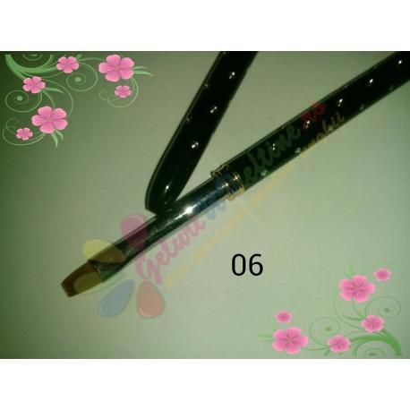 Pensula Gel Neagra Strasuri Nr 6